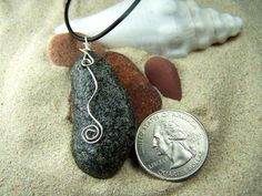 Beach Stone Necklace with Sterling Swirl $22