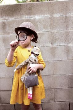 Nancy Drew named dress with cute Sherlock doll in this spy themed fall 2014 collection by Misha Lulu>> cute idea for a kids costume Little Fashion, Kids Fashion, Nancy Drew Costume, Kids Patterns, Halloween Costumes For Kids, Fun Costumes, Halloween 2020, Zara Kids, Mardi Gras