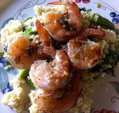 Lemon garlic shrimp over asparagus, spinach, and feta couscous.  Delicious!  So much flavor.