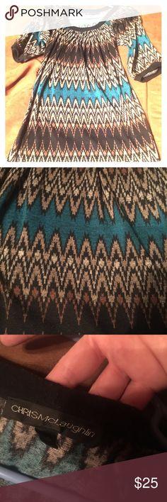 Chris McLaughlin Dress Multi color and patterned knit dress. Great condition. Size is 6 petite. Chris Mclaughlin Dresses Midi