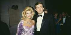 American real estate magnate Donald Trump with his first wife, Ivana (nee Zelnickova) at the Costume Institute Gala, held at the Metropolitan Museum of Art, New York City, 9th December 1985.