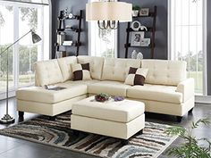 Talin 3 Pieces Sectional Sofa Upholstered in Beige Faux Leather >>> You can find more details by visiting the image link.Note:It is affiliate link to Amazon.