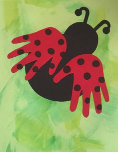 Ladybug handprints for cover of preschool memory books