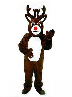 adult reindeer suit with mascot head costume - Spirit Halloween Props