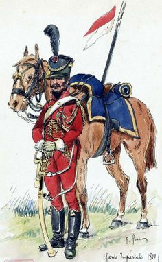 Cavalry Regiment of the Imperial Guard Lancers 2-cavalryman in 1811. E. Fort.