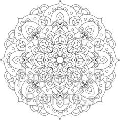 12. Flower Mandala printable coloring page. by PrintBliss on Etsy