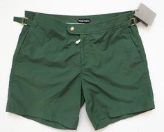 $490 NWT TOM FORD Green Swim Bathing Suit Trunks Shorts Size 56 EU 40 US #TomFord #ShortsSwimwear