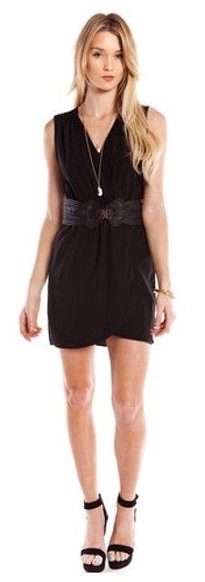 BLACK WRAP FRONT TANK DRESS WWW.SHOPPUBLIK.COM