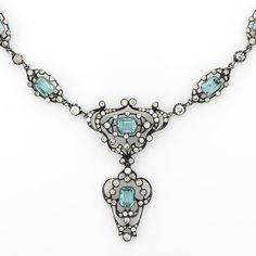 Circa 1870 sterling necklace with step-cut aqua & white paste stones