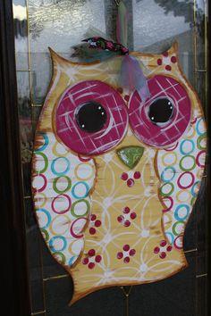 Owl door hanger...Lessie's adoorable designs