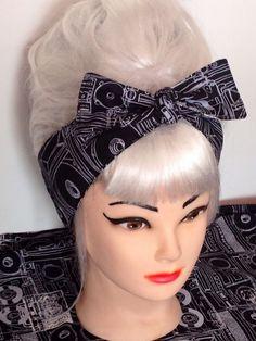 Bow Head Scarf Hair Wrap Bandana  Rockabilly Pin Up Black Grey Vintage Retro 50s #Handmade