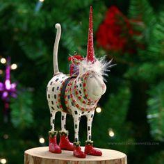 Pat Santa Hat Cat Ornament