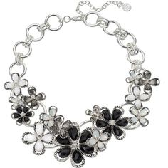 Dana Buchman Black Flower Statement Necklace ($20) ❤ liked on Polyvore featuring jewelry, necklaces, black, iridescent necklace, blossom necklace, bib statement necklace, dana buchman jewelry and flower jewellery