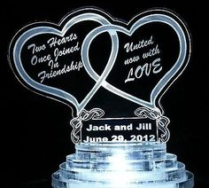 Personalized Custom Lit Wedding Cake Top Topper Acrylic Double Heart  Lights Up