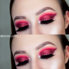 red glitter cut crease makeup tutorial now on my youtube channel! glitter, cut crease, holiday, makeup, holiday makeup, look, makeup look, beginners, morphe, 35B, christmas makeup,holidays, nails, hair, beauty, cosmetics