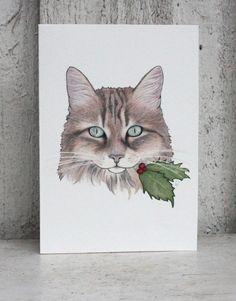 Christmas Card - Siberian Cat Oksana Christmas Card by otterlydesign, $4.50