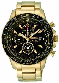Montre Seiko Chronographe SSC008P2, fonctionnant à l'énergie solaire, boîtier et bracelet en acier dorés.