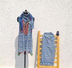 custom made Indigo dress gypsy dress boho Indian suit Indigo dress with scarf Gypsy Dresses, Boho Dress, Brocade Fabric, Cotton Fabric, Indigo Dress, Indian Fabric, Indian Suits, Wholesale Clothing, Cotton Dresses