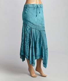 Loving this Turquoise Floral-Bottom Peasant Maxi Skirt on #zulily! #zulilyfinds