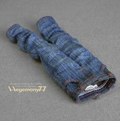 Blythe doll size hand washed baggy denim jeans pants