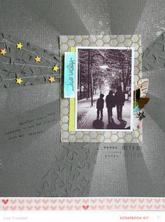 DIY background, with tone on tone punched embellishments Baby Scrapbook, Scrapbook Paper Crafts, Scrapbook Cards, Scrapbook Sketches, Scrapbook Page Layouts, Scrapbooking Ideas, Kirigami, Photo Layouts, Studio Calico