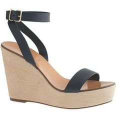 J.Crew Vachetta leather canvas wedges