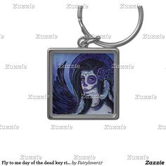 Fly to me day of the dead key ring by Renee Lavoie Silver-Colored Square Keychain