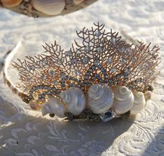 Coral Fan and Seashell Tiara -- this would be cute to make for a mermaid costume :) Costume Halloween, Halloween 2015, Couple Halloween, Halloween Makeup, Deco Boheme Chic, Mermaid Parade, Mermaid Crown, Halloween Disfraces, Shell Crafts