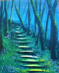 Fairy Tale Forrest painting idea with pretty little blue flowers along the steps and misty blue sky peeking behind the trees.