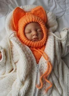 """Для новорожденных, ручной работы. Ярмарка Мастеров - ручная работа Шапка-шлем """"Лисенок"""". Handmade."""