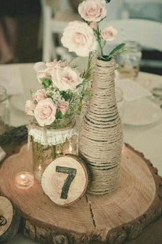Rustic Centerpiece with table number....LOVE THIS!!! Perfect for vintage outdoor wedding. With Baby's breath and sunflowers instead