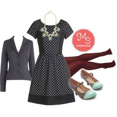 Featured in this outfit; Postcard Haste Dress, Gilded Guest Necklace, Chic it Out Heel, Seize the Day Tights, The Principal of the Thing Blazer