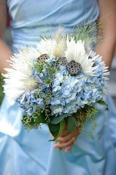 {Gorgeous Wedding Bouquet With: Blue Hydrangea, White Spider Mums, Lotus Pods, Green Thistle, Green Seeded Eucalyptus}