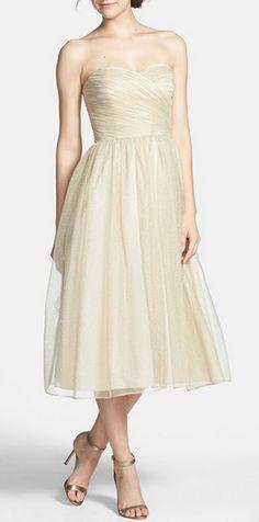 Ruched Metallic Gold Tea Length Tulle Fit  Flare Dress|Aidan Mattox