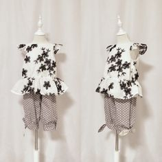 New product launched!  Very Cute Girl's Shorts with Bow, in Grey White Polkadots!