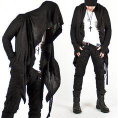 New Mens Fashion Mod Avant-garde Dark Punk Hood Charcoal Cape Cardigan Jacket