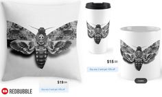 Death's-Head Hawkmoth Throw Pillow, Mug and Travel Mug #artbyurte