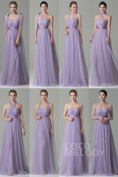 Charming Sheath-Column Natural Floor Length Tulle Sleeveless Zipper Convertible Bridesmaid Dress with Sashes Light Purple Bridesmaid Dresses, Cheap Bridesmaid Dresses Online, Tulle Bridesmaid Dress, Prom Dresses Blue, Tulle Dress, Pageant Dresses, Party Dresses, Dress Sash, Bridesmaids