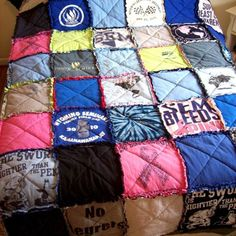 Make a quilt out of old t shirts!