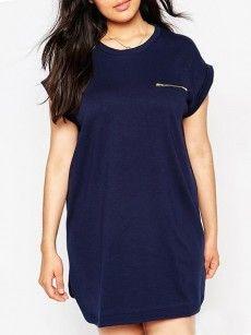 With Zips Elegant Round Neck Plus-size-shift-dress