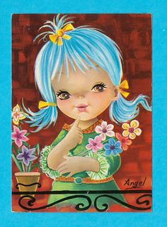 Postcard vintage 70s. Beautiful girl with big by bluumievintage, $4.75