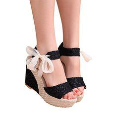 c13468daceb6 Sandales Compensées Femme Sandales Talon Compensé Chaussures Tongs Sandales  Talons Hauts Bout Ouvert Plate-Forme