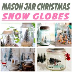 Learn how to make mason jar snow globes-- the perfect Christmas craft idea using jars, and excellent handmade gift ideas! 5 Ways to Make Snow Globes in Mason Jars for Christmas | via putitinajar.com