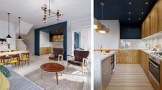 Le séjour de ce duplex a un style à la fois moderne et ancien. On y retrouve la couleur blanche, un style épuré et une petite touche plus rustique que donne la cheminée et le mobilier que l'on retrouve autour. Séjour très lumineux qui ce prolonge sur une cuisine d'un style tout de suite pl