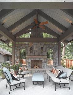 Ideas For Backyard Patio Fireplace Back Porches This image has get 0 . Ideas For Backyard Outdoor Areas, Outdoor Rooms, Outdoor Living, Outdoor Kitchens, Back Patio, Backyard Patio, Backyard Fireplace, Fireplace Ideas, Patio Roof
