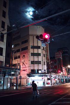 Japan | Robin Franzmann  Osaka, Cyper Punk, Moon, Streetlight, night