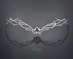 Sterling Silver Elven Wedding Circlet with Amethyst Celtic Tiara Bridal Headpiece Medieval Diadem Rennaissance Hair Accessory Fairy Princess Wedding Hairstyles With Crown, Silver Tiara, Celtic Wedding Rings, Elvish Wedding, Bride Hair Accessories, Kawaii Accessories, Argent Sterling, Sterling Silver, Bridal Tiara