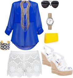 Royal Blue, White, Yellow, Gold Outfit lace shorts, created by bsmi on Polyvore