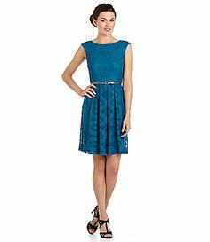 London Times Sundial Lace Dress #Dillards teal color