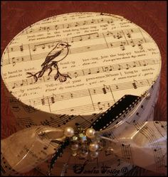 Used vintage sheet music on illustration board to create this Victorian band/hat box.
